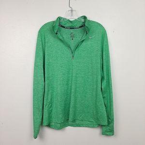 Nike Quarter Zip Running Shirt Thumb Hole Green L